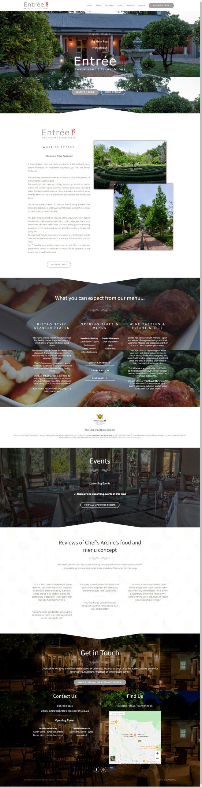 Website for Entrée Restaurant in Franschhoek