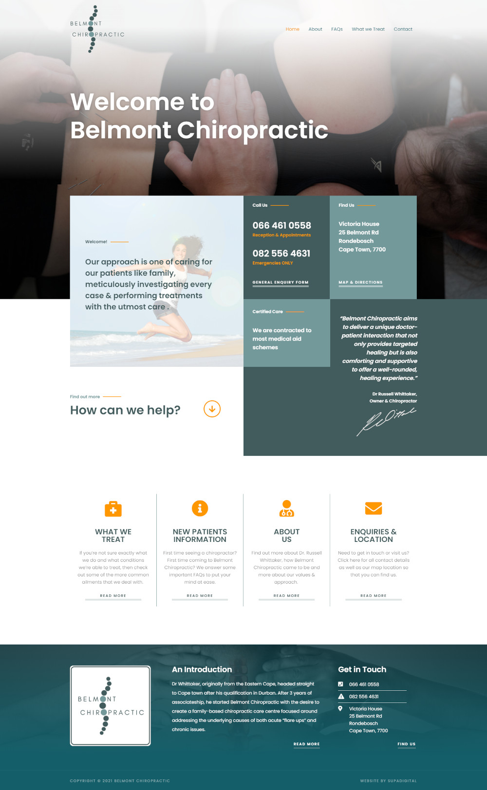 Website for Belmont Chiropractic in Cape Town